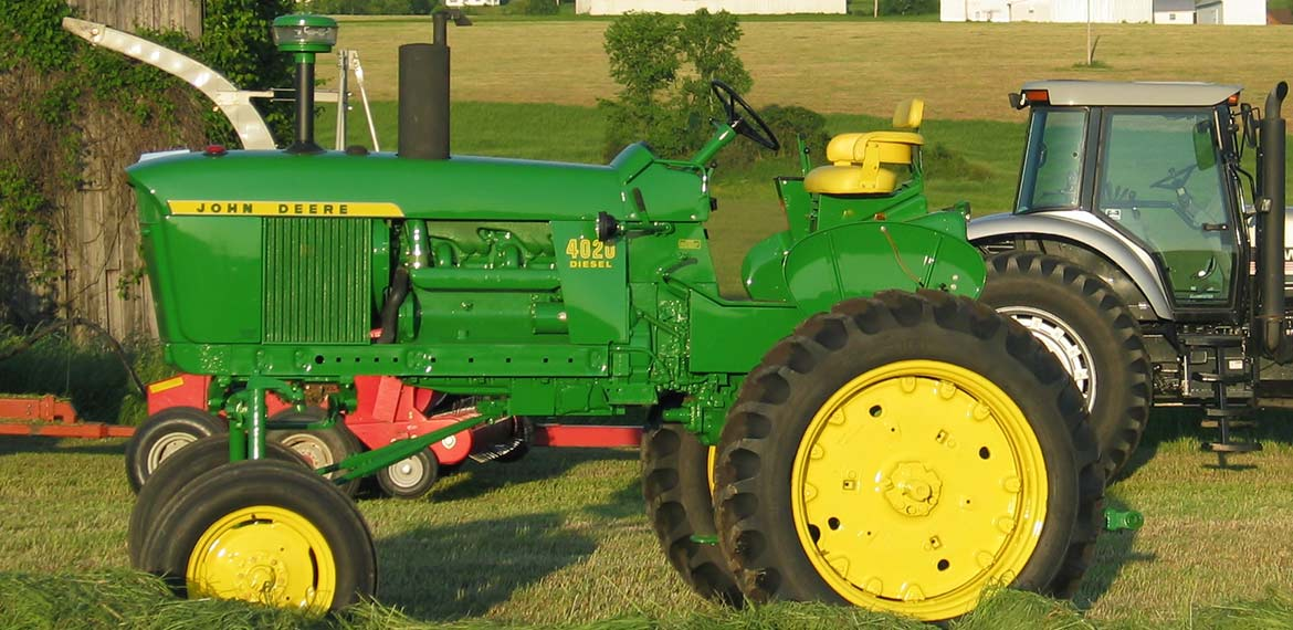 John Deere 4020 High Crop and White 6810